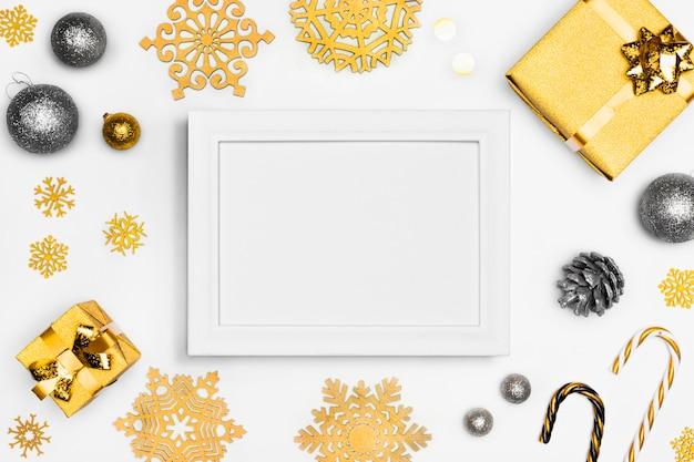 フレームとエレガントなクリスマスのコンセプト