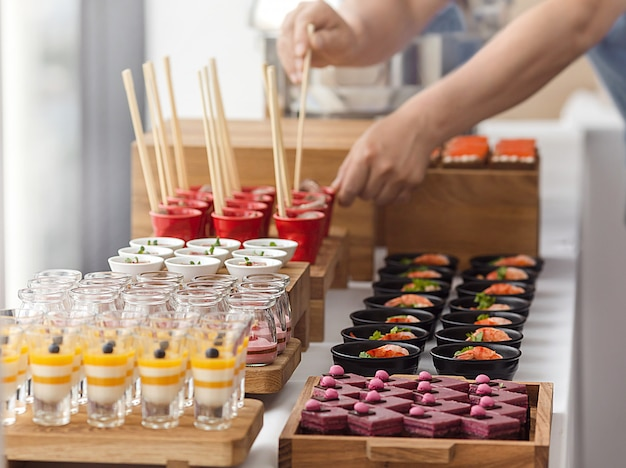 Elegant colourful dessert buffet