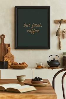 모의 포스터 프레임, 베이지색 사이드보드, 식탁 및 개인 액세서리가 있는 세련된 식당 내부의 우아한 구성. 공간을 복사합니다. 주형. 가을분위기.