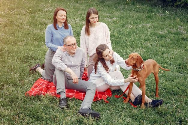 Элегантная семья проводит время в летнем парке