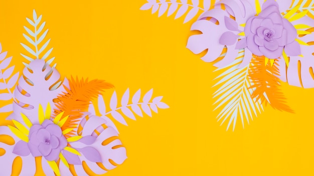 エレガントな花と紙で作られた葉