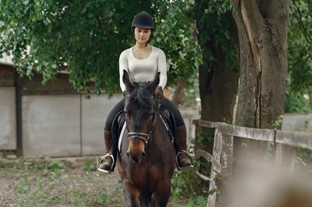 馬と農場でエレガントな女の子
