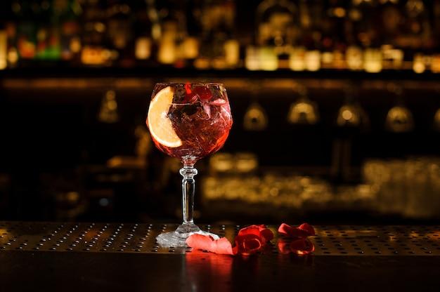 Elegant glass filled with fresh and tasty aperol syringe summer cocktail
