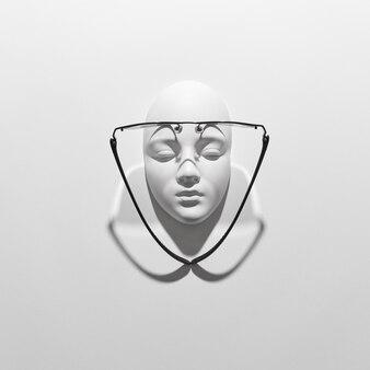 Элегантные очки на гипсовой скульптуре лица с длинными пересекающимися тенями на белой стене, копией пространства. вид сверху. оптика моды здорового образа жизни.