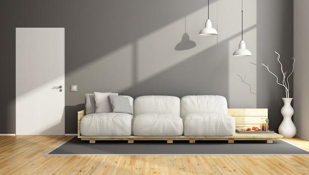 ソファ付きのエレガントなグレーのリビングルーム