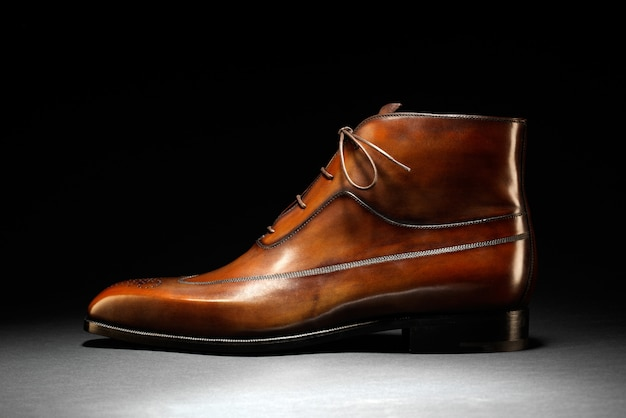 Elegant hand tooled brown leather shoe