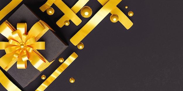 Elegant header with black gift box with gold ribbons and spheres around it with space for text