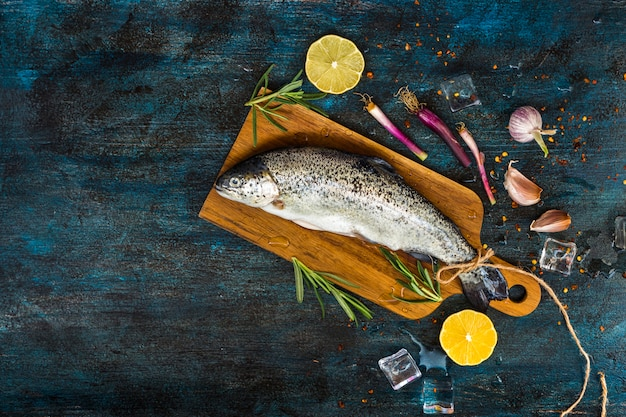 Elegant healthy food composition with fish