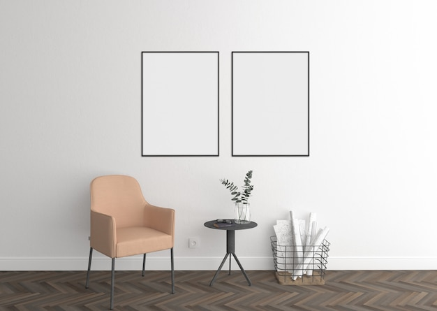 Elegant interior with white double frames and frame