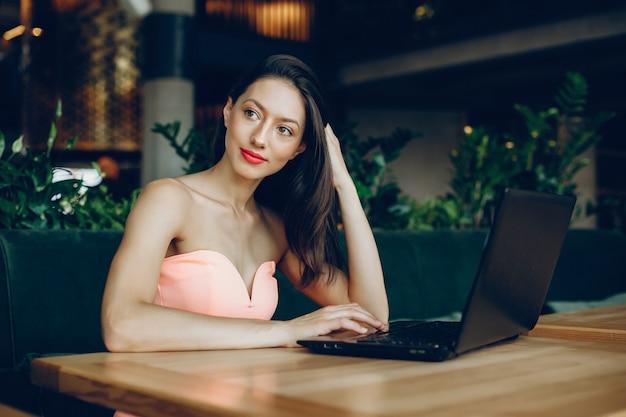 Elegant lady with laptop