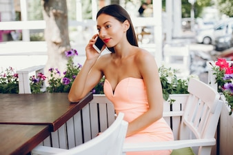 Elegant lady with mobile phone