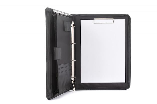 Elegant leather black folder for businessman documents