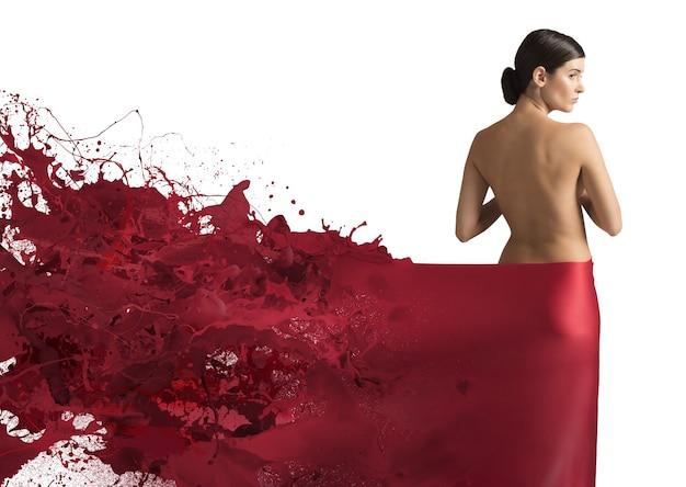 エレガントな液体の赤いベール
