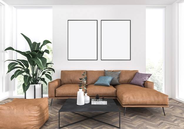 Elegant living room with a leather sofa, double frames mockup, artwork background