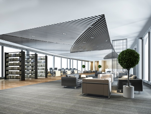 Elegant lounge lobby area and library with working desk and sofa set