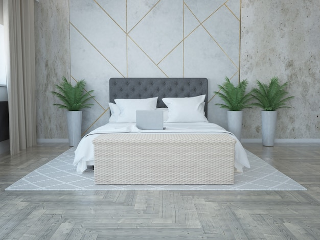 Elegant luxurious bedroom with architectural concrete wall