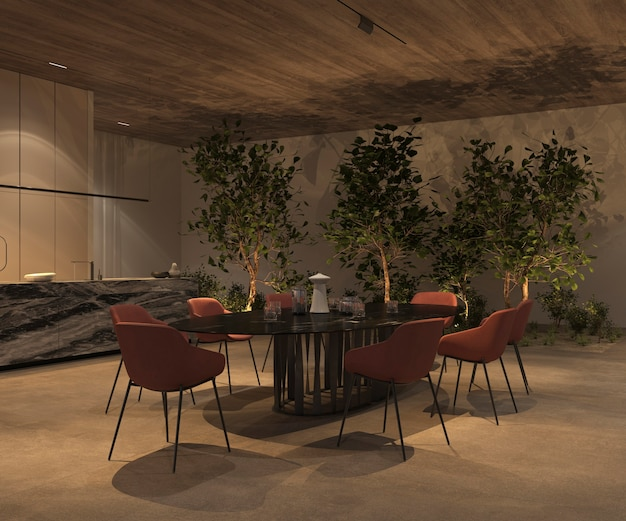 Elegant and luxury open kitchen and dining room with night lighting, green plants - trees, marble island, table, stone floor, wooden ceiling. 3d rendering illustration bright interior apartment.