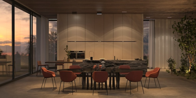 Elegant and luxury open kitchen and dining room with night lighting, marble island, stone floor, wooden ceiling. windows overlooking the sunset. 3d render illustration bright interior apartment.