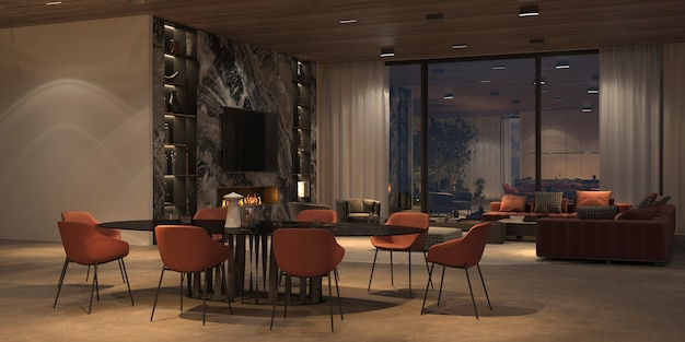Elegant and luxury open living and dining room with night lighting, marble tv wall, stone floor, wooden ceiling. windows overlooking the night sky. 3d render illustration bright color interior design.