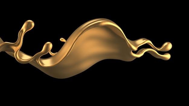 ゴールドリキッドのエレガントで贅沢なスプラッシュ。 3dイラスト、3dレンダリング。