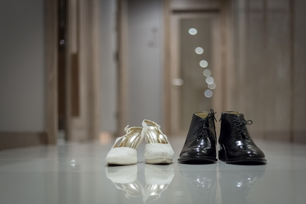 Elegant male and female dress shoes for wedding ceremony