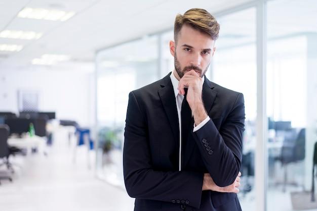 Elegant man thinking