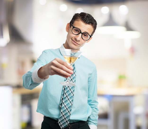 Elegant man with a glass
