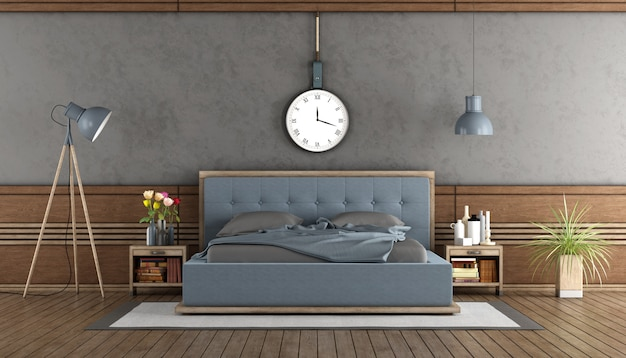 파란 침실과 우아한 마스터 침실