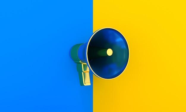 Elegant megaphone or loudspeaker on half blue and yellow background  public speech announcement