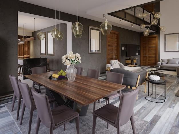 우아하고 현대적인 식당 인테리어입니다. 고급 주택의 식당. 로프트 아파트의 주방, 식당 및 거실입니다. 3d 렌더링