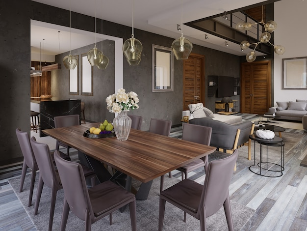 Elegant modern dining room interior. dining room in luxury home. kitchen, dining and living room of loft apartment. 3d rendering
