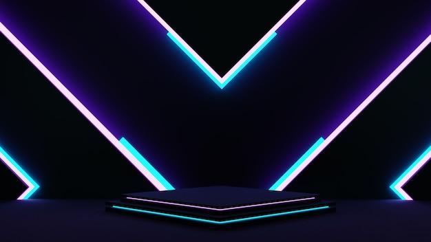 エレガントなネオンポディウムカラフルな照明製品のディスプレイ