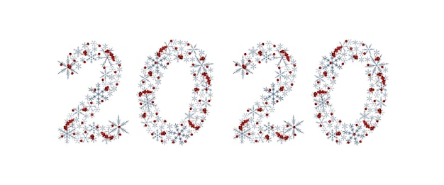 Elegant new year artistic inscription 2020 with grey snowflakes and rowan berries. watercolor elements
