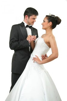 Elegant newly-married couple