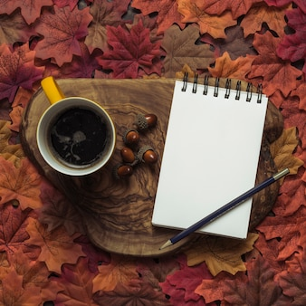 Elegant notepad and coffee autumn set