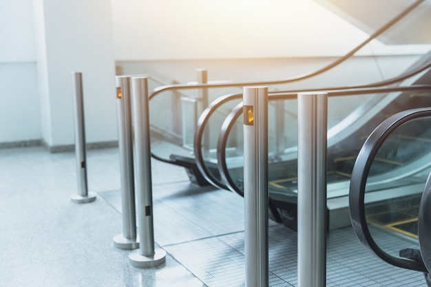 Elegant office building. escalator inerior in convention center for convenient people to go upstair.