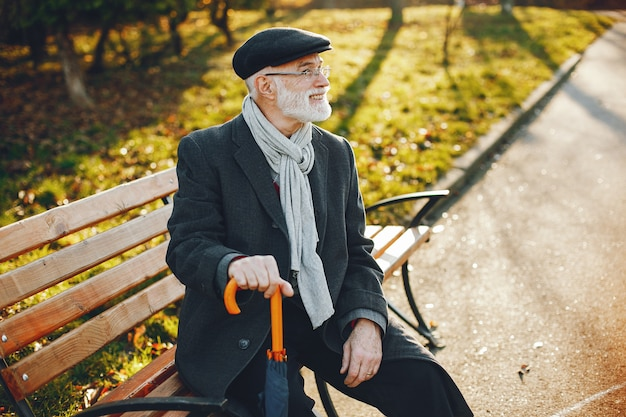 Elegant old man in a sunny autumn park