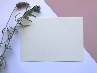 Elegant pink and white watercolor paper template with flowers