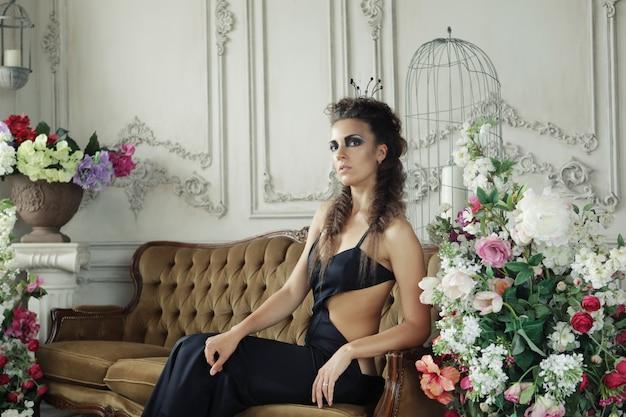 Elegant queen in black dress