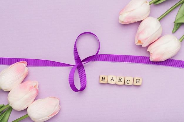 우아한 리본 기호 및 꽃 무료 사진