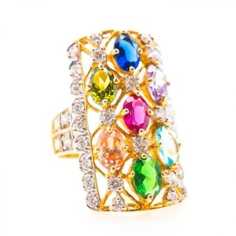 Elegant ring with colorful gemstones