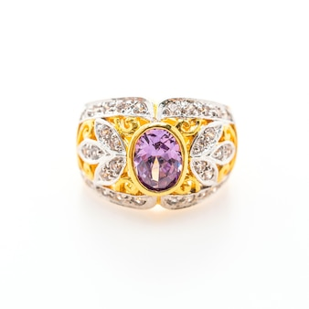 Elegant ring with purple gemstone