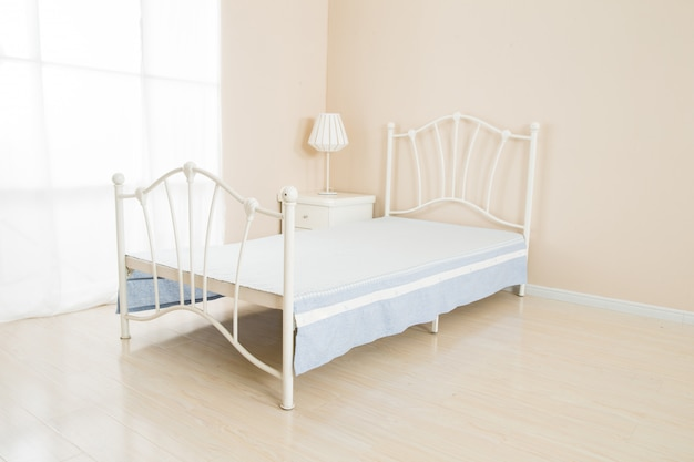 Elegant romantic bedroom interior in pastel colors