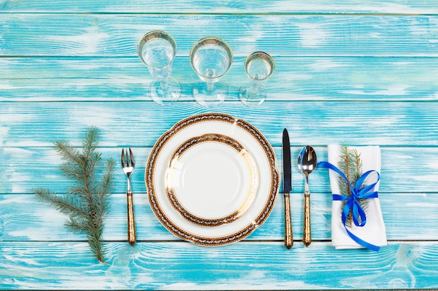 Elegant rustic christmas table setting from above