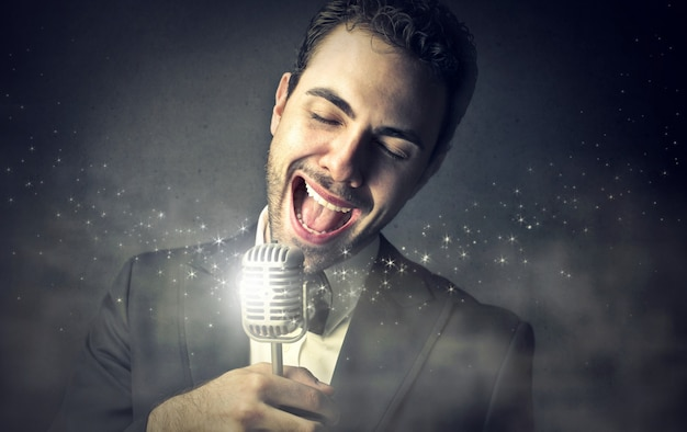 Elegant singer singing a song