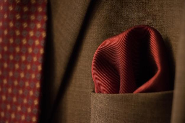 Elegant suit and red tie