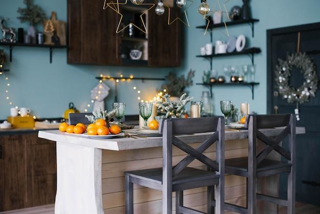 Elegant table set for christmas dinne