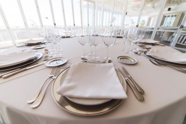Elegant table set at fine restaurant