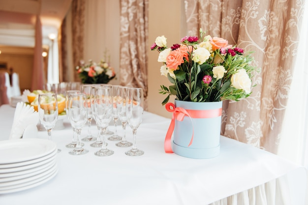 Elegant table set with flowers