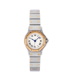 Elegant watch with a silver and golden chain under the lights isolated